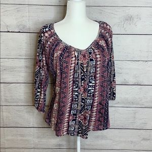Lucky Brand 3/4 Sleeve Knit Top With Embroidery M
